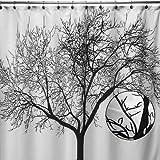 Duschvorhang (Shower Curtain),Carpemodo / 100% Polyester/wasserabweisend und spritzwasserdicht Design BAUM Farbe Weiß Schwarz