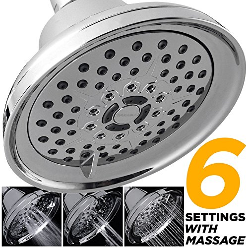sakaika 12,7cm 6-spray Hohe Druck Massage Multifunktions Duschkopf, luxuriösen wandhängende Mehrstufen Feste Dusche Kopf mit verstellbare Swivel-Ball, chrom, 2,5GPM Durchfluss - Beschlag-dusche-kopf