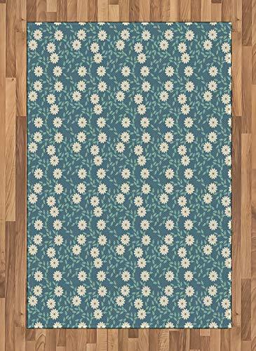 ABAKUHAUS Elfenbein und Blau Teppich, Weibliche Blumen, Deko-Teppich Digitaldruck, Färben mit langfristigen Halt, 120 x 180 cm, Türkis Elfenbein und Teal - Elfenbein Blumen-bereich Teppich