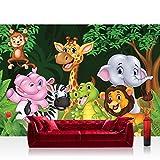 Fototapete 368x254 cm PREMIUM Wand Foto Tapete Wand Bild Papiertapete - Kinder Jugend Tapete Wald Löwe Affe Zebra Giraffe Elefant bunt - no. 4528