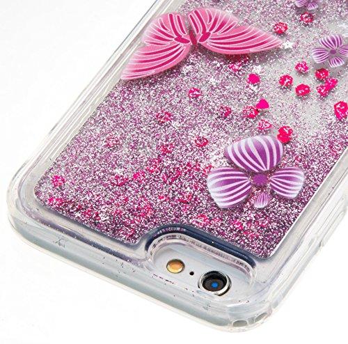 Per iPhone 6/6S 4.7 Pollici Custodia Cover,SKYXD Lusso Bling Brillantini Glitter Strass Coperture Protettiva Trasparente Silicone Morbida TPU Gel Colorata Creativo 3D Disegni Flusso Liquido Sabbia Cas Rosa Farfalla