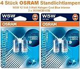 4 Lampen OSRAM COOL BLUE INTENSE W5W Halogen Positions-, Kennzeichen-, Schlusslicht 2825CBI-02B 4000K und 20% mehr Licht in 2 Doppelblister