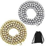 2 Piezas de Cadena de Hip Hop Dorado 24 Pulgadas de Collar de Tenis de Diamante Artificial Unisex Cadena de Tenis Plateada y Dorada Helada (Collar de Tenis 2 Piezas)