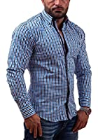 BOLF Langarm Herrenhemd Hemd Figurbetont Freizeit Slim Fit 4712
