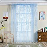 Mikolot Pastoral Style Willow Floral Window Curtain Bedroom Living Room Decor(Blue)