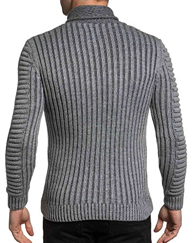 BLZ jeans - Pull homme gris maille relief col châle zippé Gris