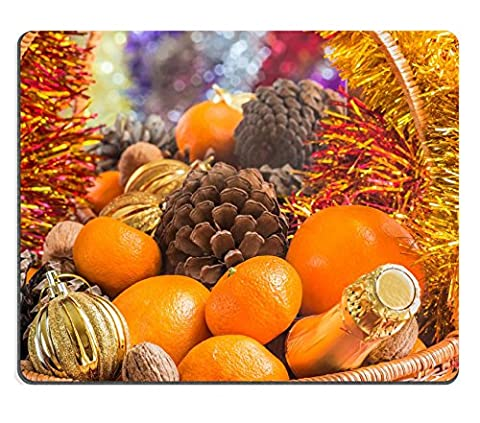 MSD Natural Rubber Gaming Mousepad IMAGE ID: 30621619 Christmas basket with fruit pine cones and a bottle of wine is reflected in a mirror