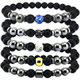 5Pcs Anti-swelling Black Obsidian Anklet, Magnetic Therapy Bracelet, Adjustable Weight Loss Magnet Anklet for Men Women…