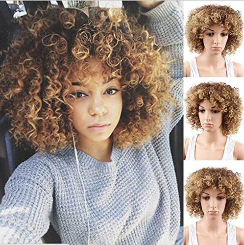 royalvirgin kurz lockiges Afro-Perücke Kunsthaar Afro Perücken mit Ombré schwarz und braun mix Blonde Perücken für Damen (Schwarze Lockige Perücke Kurze)