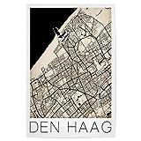 artboxONE Poster 90x60 cm Retro Map of Den HAAG Netherlands