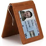 MUCO Cartera para Hombre Titular de la Tarjeta de crédito con Clip metálico para Billetes Protección RFID Cartera Delgada con