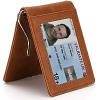 MUCO Porta carte di credito da uomo con fermasoldi in metallo Protezione RFID Portafoglio dal design sottile Portafoglio…
