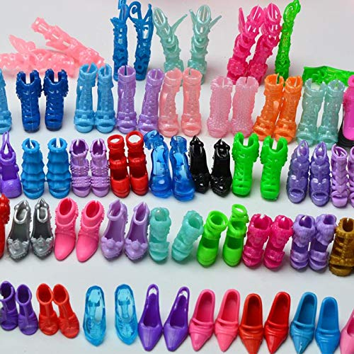 Urban Glitz 12 Pairs Stylish Doll Shoes and 12 Pieces Multicolour Doll Dress Combo Pack Suitable for Barbie Dolls