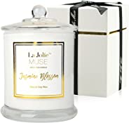Jasmine Scented Candle Gift Natural Soy Wax, 60 Hours Burn Fine Home Fragrance, Glass Jar Candles Gift for Her