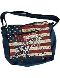 90310a2530f45 Robin Ruth Canvas Umhänge Tasche Überschlagtasche New York in blau 42x28x17  cm