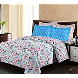 Bombay Dyeing Breeze Designer Zig-Zag Multicolor Pattern Cotton 140 TC Double Bed Sheet With Two Blue Pillow Covers