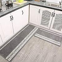 Non Slip Kitchen Rug Set, Modern Simple Mat Runner Durable Washable For Doorway Indoor Outdoor Carpet-gray 1pc-50x80cm(20x31inch)+1pc-50x200cm(20x79inch)