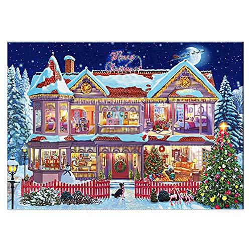 ODJOY-FAN Weihnachten Dekoration Punktbohrer Malerei Diamant Punktbohrer Gemälde Eingefügt Stickerei Malerei Kreuz Stich Zuhause Dekor 30X40cm/40x30cm(E,40X30cm)