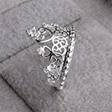 Skyllc® Anillo de la corona delicada princesa reina de piedra de plata de plata delicada chapado de la Mujer