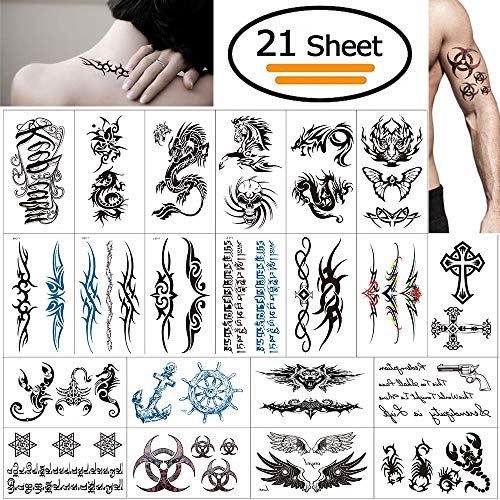 Vibury Temporär Tätowierung, 21 Blätter Tattoo Aufkleber Fake Arm Tattoos Sticker für männer Frauen- Dragon Heartbeat Tiger Vine Skorpion Grafik ()