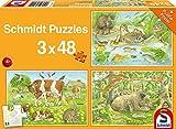 Schmidt Spiele Puzzle 56222 - Standard 3 x 48 Teile Tierfamilien