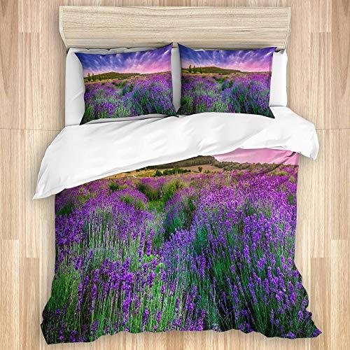 LISNIANY Bettwäsche Set,Feld lila Provence Sonnenuntergang über Sommer Lavendel Tihany Natur grün Frankreich Ungarn Ernte,1 Bettbezug 135x200cm+2 Kopfkissenbezug 50x80cm -