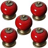 Voarge Ronde keramische knop voor kastdeuren/laden, kastknop porselein, handvat antiek, landhuis, rood, 5 stuks