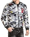 Gov Denim - Bomber homme zippé camouflage gris avec patchs