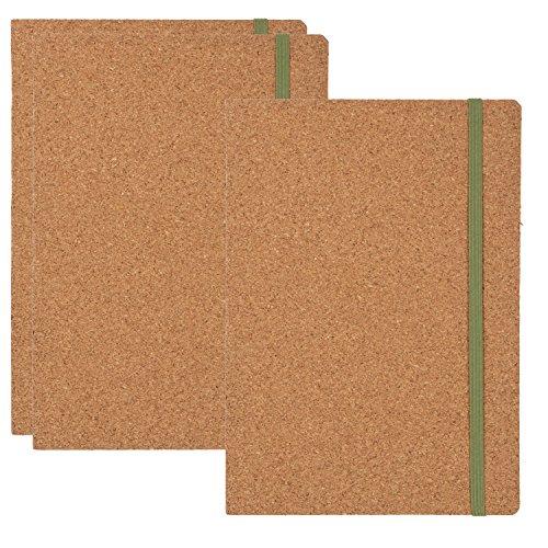Cuadernos con cubierta de corcho - Pack de 3 cuadernos ecológicos forrados con cubierta de corcho y cierre de correa elástica, diario de viaje, cuaderno de notas, para oficina, escuela, estudiantes, 48 hojas, 6,8 x 8,5 pulgadas