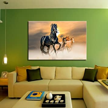 Buy Wallpaper Hd Wall Decals HD Quality Running Horse For Vastu Wall Posters  CANVAS L Size, 54 X 36 Inch..135 Cm X 90 Cm Online At Low Prices In India  ... Part 81