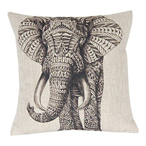 42x42cm Funda Cojín de Almohada Patrón de Elefante Negro Rayas Decoración para Hogar Sofá