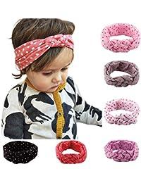 OKPOW 6 Noeuds à Deux Boucles et Croisés Turbans Coiffures Bandeaus pour bébé Fillette Bande de Cheveux