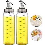 Olijfolie Dispenser Fles - 2 Pack van 500 ml. Grote Olijfolie Dispenser Cruet RVS Giet Tuit, Glas Koken Olie Azijn Meetdispen