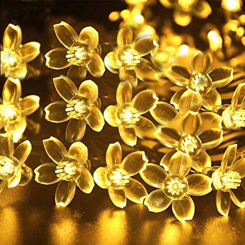 IVSO LED Solar Lichterkette Außen Deko Christmas Dekoration Solarbetrieben IP65 Wasserdichtes 6m 50 LED Wasserdict für Outdoor Party, Haus Dekoration, Hochzeit, Weihnachten, Feier Festakt, Warmweiß