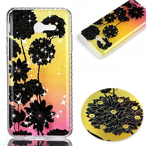 KM-WEN® Schutzhülle für Apple iPhone 7 Plus (5,5 Zoll) Diamant Dämmerung Serie Schwarz Blumen Muster Ultra-dünnes Weiche TPU Case Cover Rückseite Schutzhülle Hülle für Apple iPhone 7 Plus (5,5 Zoll) F Farbe-19