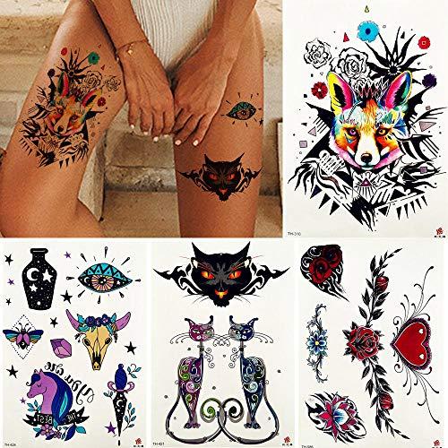 Totem fox wolf tribal rose pittura autoadesivo del tatuaggio temporaneo fiore colorato triangolo flash tatuaggi body art gamba tatuaggio finto fai da te