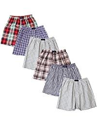 BRUBAKER lot de 6 Boxer-short hommes boxer shorts tissu caleçons en coton - peu froissable - rouge et tons de bleu M