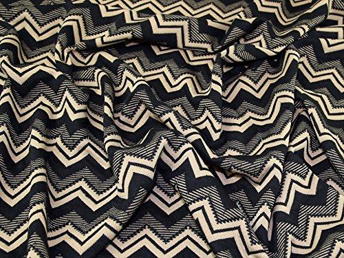 Chevron Strukturierte Stretch Jersey Knit Kleid Stoff beige & schwarz–Meterware