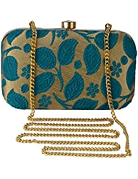 Revolution Handicraft Party Wear Hand Fancy Cloth Box Clutch With Flower & Leaf Work By Sequence And Beads On...