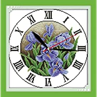 YEESAM Art Nuovo Punto Croce Ricamo–Phalaenopsis Orologio 14CT 31× 31cm DIY ricamo Set Bianco Vela panno–Croce cucito a mano regali di Natale Cross Stitch Kit