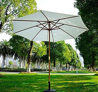 Sombrilla Parasol Blanco Crema Madera Terraza Playa Jardin Piscina Camping Outsunny