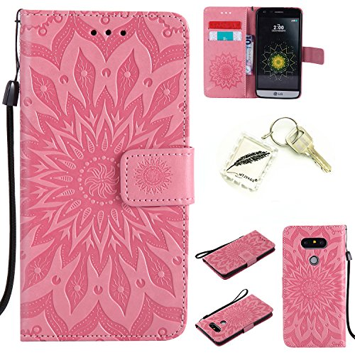 Preisvergleich Produktbild Silikonsoftshell PU Hülle für LG G5 (5,3 Zoll) Tasche Schutz Hülle Case Cover Etui Strass Schutz schutzhülle Bumper Schale Silicone case+Exquisite key chain X1#AD (6)