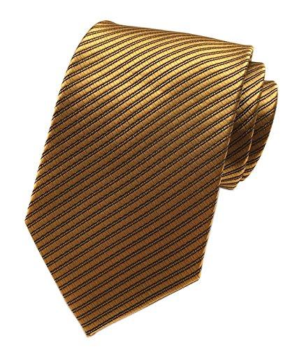 Elfeves Herren Krawatte mit feinen Streifen, glatt, formelle Anzüge - bronze - Einheitsgröße