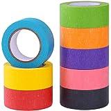 Gekleurde tape voor Craft, 8 rollen Rainbow Colour Masking Tape Washi Tape voor Decoratieve, Kleurcodering, Scrapbooking, Kid