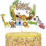 36 Piezas Decoración de la Torta de la Selva,Adorno Pastel Cumpleaños Animales,Decoracion Tarta Animales,Cute Zoo/Jungle Them