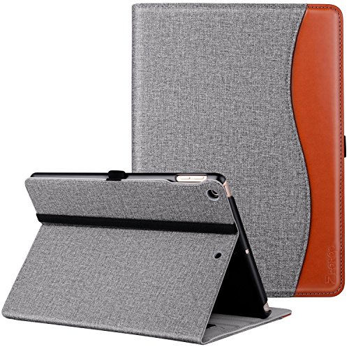 Ztotop Hülle für iPad 9.7 2018/2017, Premium Kunstleder Leichte Schutzhülle Case Cover für iPad 9,7 Zoll iPad 5/6,mit Auto Schlaf/Wach Funktion & Steckplatz für iPad Air 2 / Air 1,Denim Grau