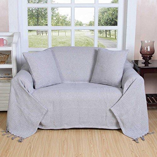 Homescapes - Plaid ou jeté de canapé Halden Uni Gris à Motif Chevrons en Coton, 150 x 200 cm