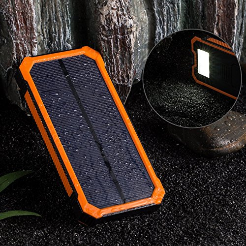 Solar Power Bank 20000mAh bewegliche im Freien wasserdichten Handy-Ladegerät, Camping externen Backup-Batterie-Pack Doppel-USB-LED-Licht Taschenlampe mit Kompass für Tablet iPhone und Android,Orange