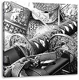 edle Samurai-Schwerter Kunst B&W, Format: 40x40 auf Leinwand, XXL riesige Bilder fertig gerahmt mit Keilrahmen, Kunstdruck auf Wandbild mit Rahmen, günstiger als Gemälde oder Ölbild, kein Poster oder Plakat