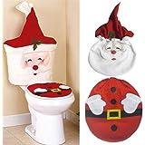 Kylewo Juego de decoración navideña para WC, Funda de Asiento de Navidad de Santa Claus. Alfombra de Piso y Cubierta de Tanqu
